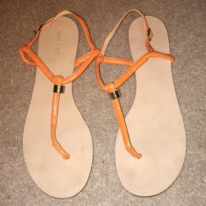 Orange Nine West women's sandals
